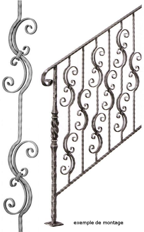 balustre en fer forg martel avec motif assembl e en. Black Bedroom Furniture Sets. Home Design Ideas