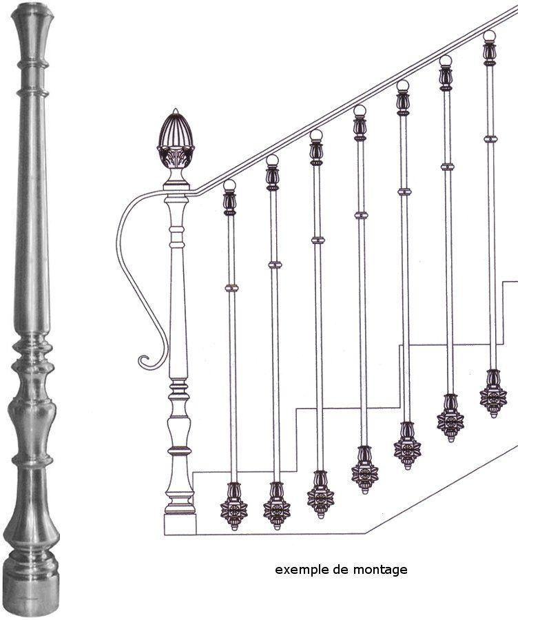 poteau de d part en fonte pour escalier en fer forg en. Black Bedroom Furniture Sets. Home Design Ideas