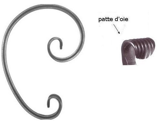 Volute c 210x150 g patte d 39 oie en fer forg pour portail for Garage patte d oie