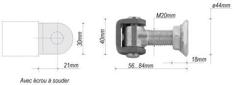 gond r glable largeur 40mm longueur 84mm pour portail en fer forg en acier ferronnerie la. Black Bedroom Furniture Sets. Home Design Ideas