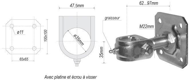gond r glable avec platine hauteur 62mm diam tre 35mm pour portail en fer forg en acier. Black Bedroom Furniture Sets. Home Design Ideas