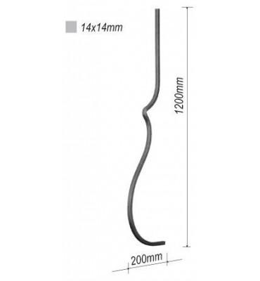 pièce élément ferronnier serrurier Balustre GALBE 1300x190 Section 14x14 ACIER FER FORGE Ref: 12L-14-1300