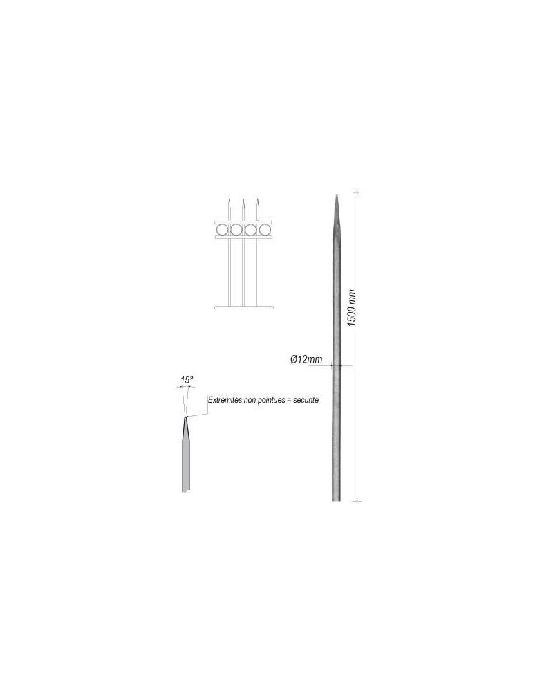 pièce élément ferronnier serrurier Barreau appointé ROND Longueur 1500 Diamètre 12 ACIER FER FORGE Ref: 1RL12-1500