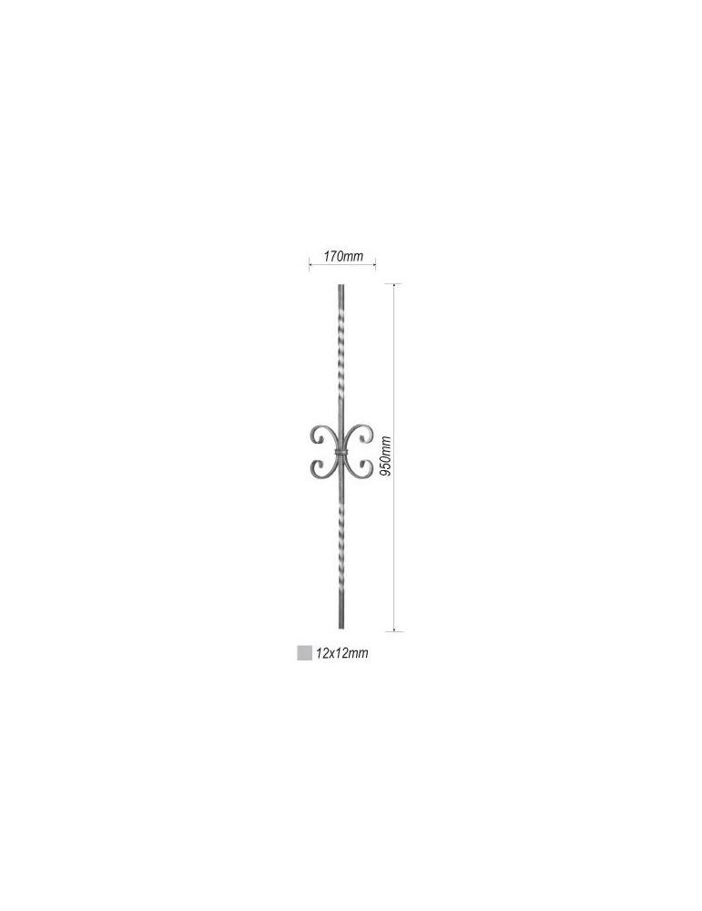 balustre torsade 950x170 section 12x12 acier fer forge ref. Black Bedroom Furniture Sets. Home Design Ideas