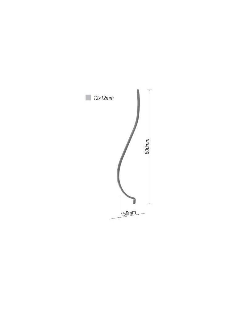 balustre galbe 800x155 section 12x12 acier fer forge ref. Black Bedroom Furniture Sets. Home Design Ideas