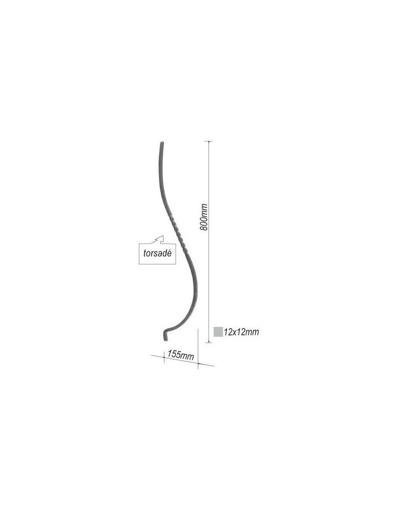 balustre galbe et torsade 800x155 section 12x12 acier fer. Black Bedroom Furniture Sets. Home Design Ideas