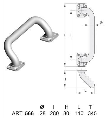 pièce élément ferronnier serrurier Poignée inclinée pour porte suspendue Acier Galvanisé Longueur 345 Diamètre 28 ACIER Ref: 566