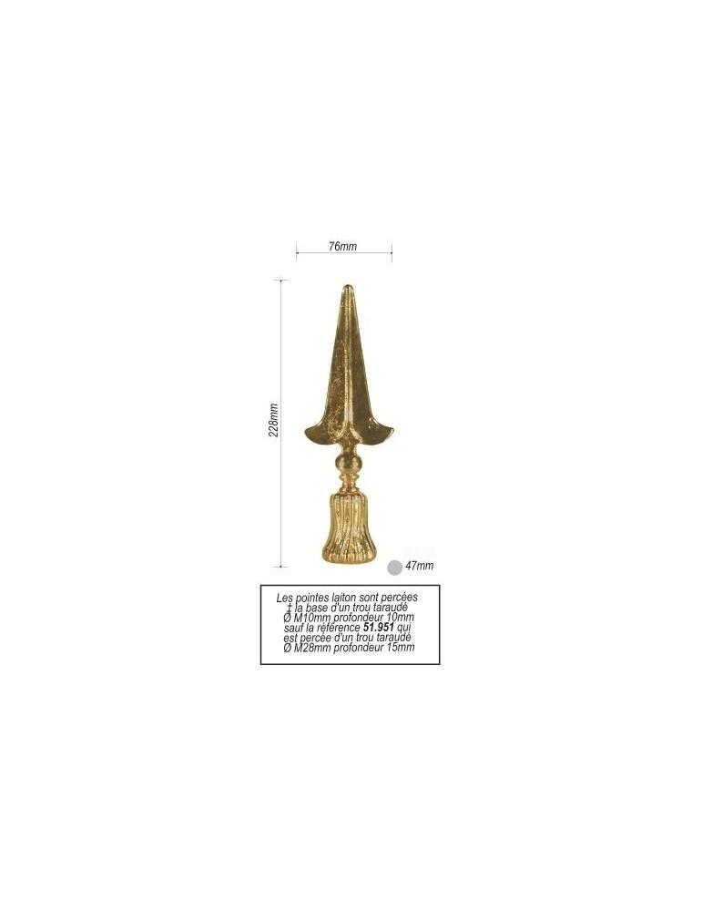 pièce élément ferronnier serrurier Pointe de lance en laiton pour portail royal 228 x 76 Diamètre 47 LAITON Ref: 14-121