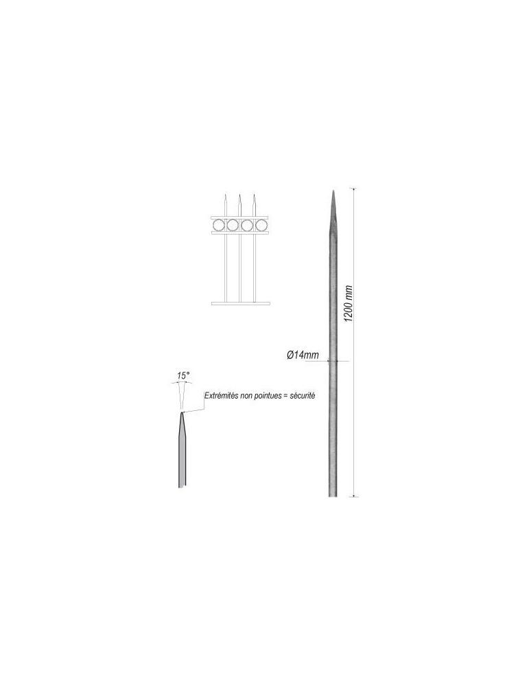 pièce élément ferronnier serrurier Barreau appointé ROND Longueur 1200 Diamètre 14 ACIER FER FORGE Ref: 1RL14-1200
