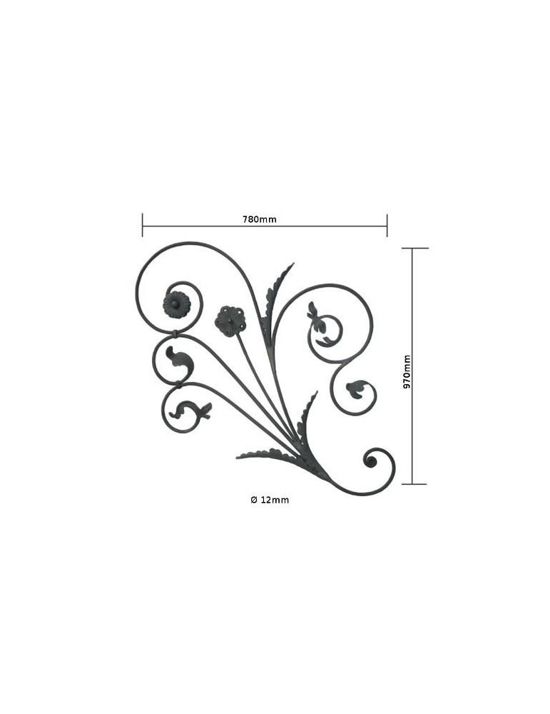 panneau decoratif portail 970 x 780 diametre 12 acier fer forge lis