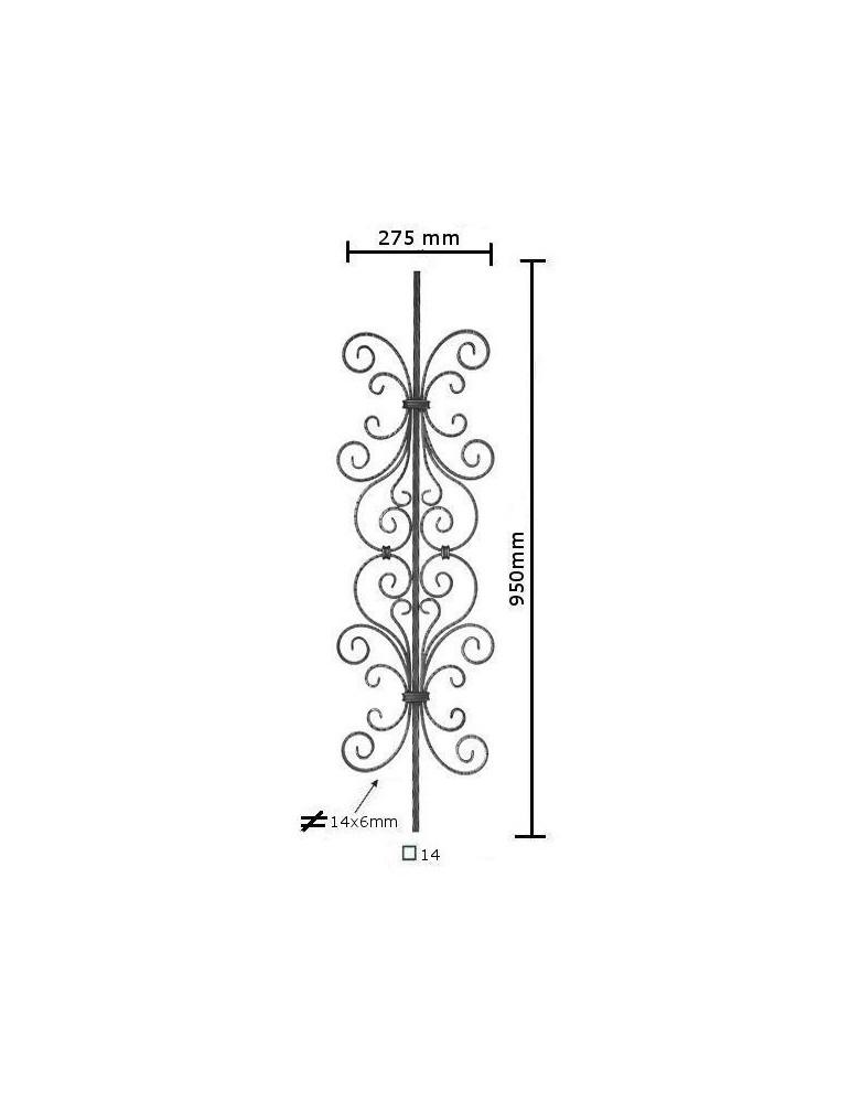 balustre 950 x 275 section 14x14 acier fer forge martele. Black Bedroom Furniture Sets. Home Design Ideas