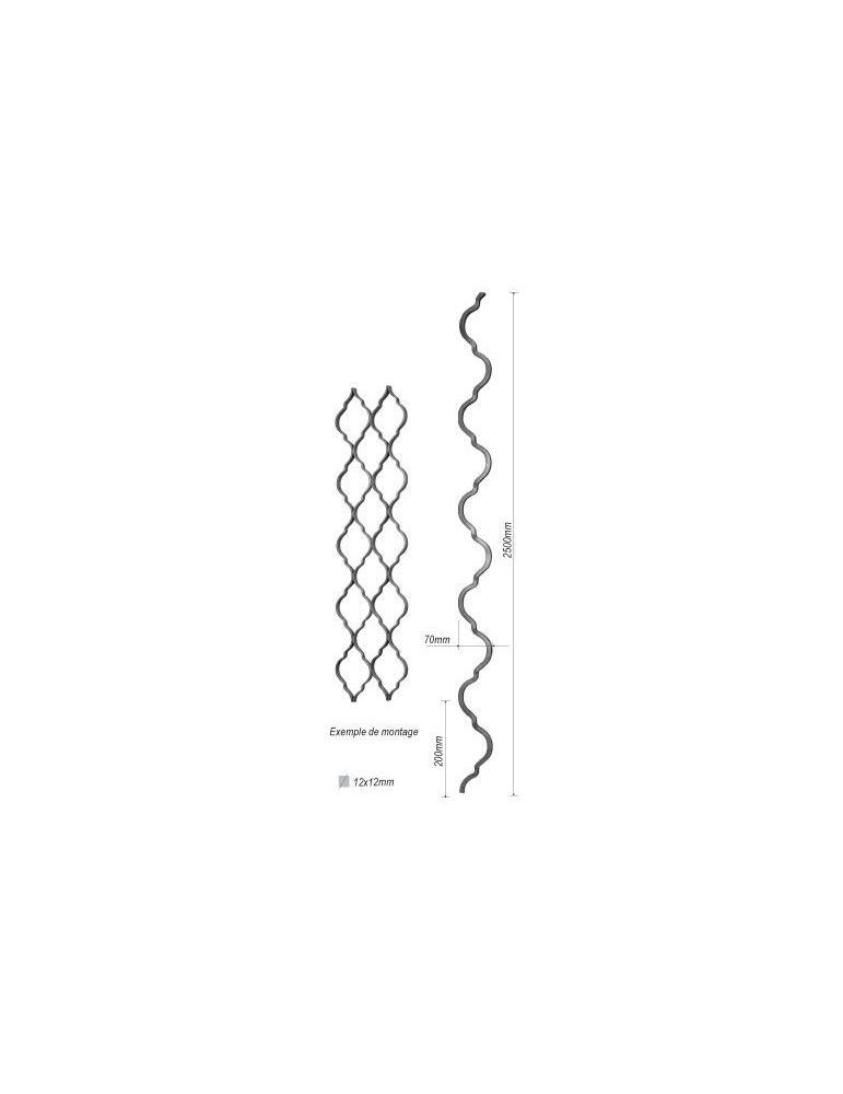 balustre 2500 x 70 section 12x12 acier fer forge lisse ref. Black Bedroom Furniture Sets. Home Design Ideas