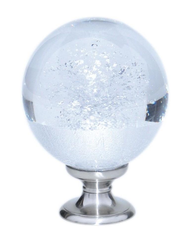 pièce élément ferronnier serrurier Boule de départ de rampe verre motif feuille argent socle argent 100mm Longueur 58 Diamètr...