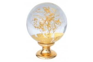 pièce élément ferronnier serrurier Boule de départ de rampe verre motif feuille or socle doré 100mm Longueur 45 Diamètre 100 ...