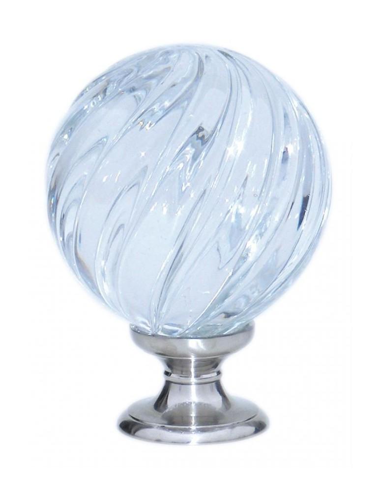 pièce élément ferronnier serrurier Boule de départ de rampe verre motif vrille incolore socle argent 100mm Longueur 45 Diamèt...