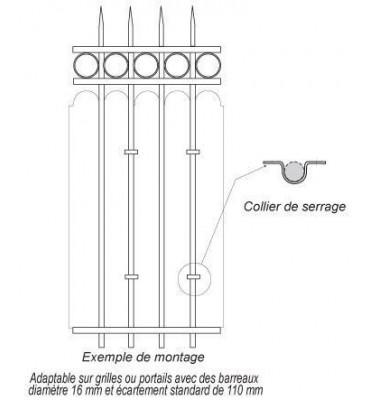 pièce élément ferronnier serrurier Collier de serrage feston Largeur 10 Diamètre 16 ACIER FER FORGE LISSE Ref: CF16