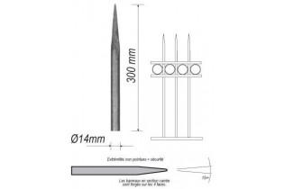 pièce élément ferronnier serrurier Barreau appointé ROND Longueur 300 Diamètre 14 ACIER FER FORGE Ref: 1RL14-300