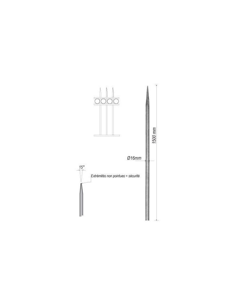 pièce élément ferronnier serrurier Barreau appointé ROND Longueur 1500 Diamètre 16 ACIER FER FORGE Ref: 1RL16-1500