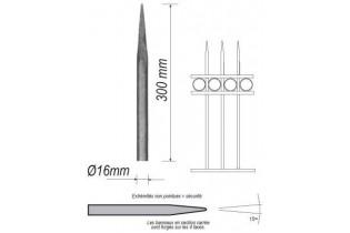 pièce élément ferronnier serrurier Barreau appointé ROND Longueur 300 Diamètre 16 ACIER FER FORGE Ref: 1RL16-300