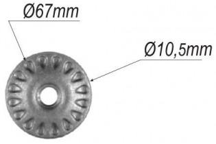 pièce élément ferronnier serrurier Rosace pour gardes-corp Diamètre 67 Passage 10 ACIER Ref: P37S