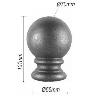 pièce élément ferronnier serrurier Tête de départ forme boule pour rampe d'escalier 101 x 55 Diamètre 70 ACIER Filetage M12 R...