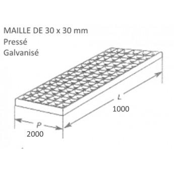 pièce élément ferronnier serrurier Caillebotis pressé galvanisé 2000 x 1000 mm maille 30 x 30 Ref: BBCAILLEGALV2000
