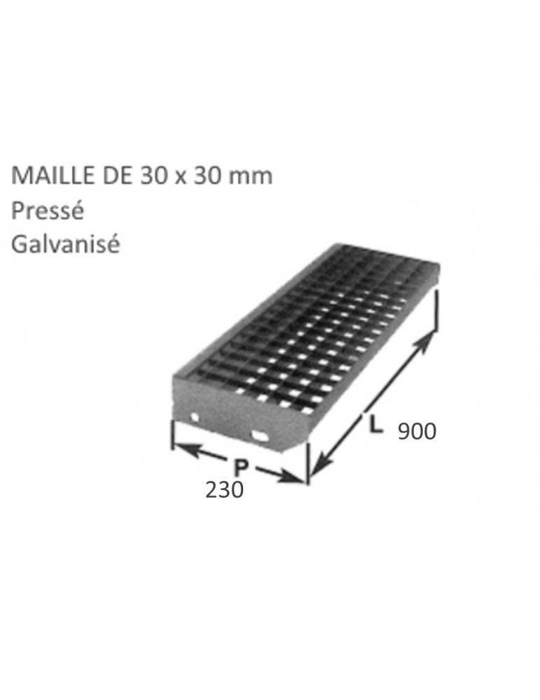 pièce élément ferronnier serrurier Marche Caillebotis pressé galvanisé 230 x 900 mm maille 30 x 30 Ref: BBMARCHECAILLE90