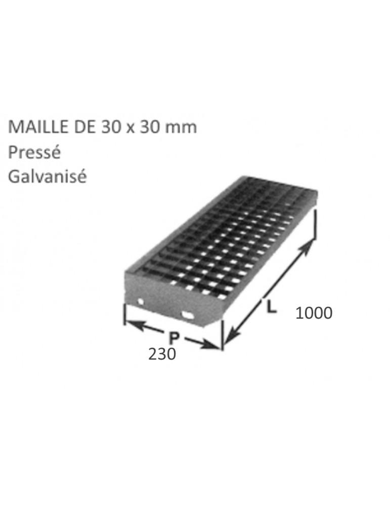 pièce élément ferronnier serrurier Marche Caillebotis pressé galvanisé 230 x 1000 mm maille 30 x 30 Ref: BBMARCHECAILLE100
