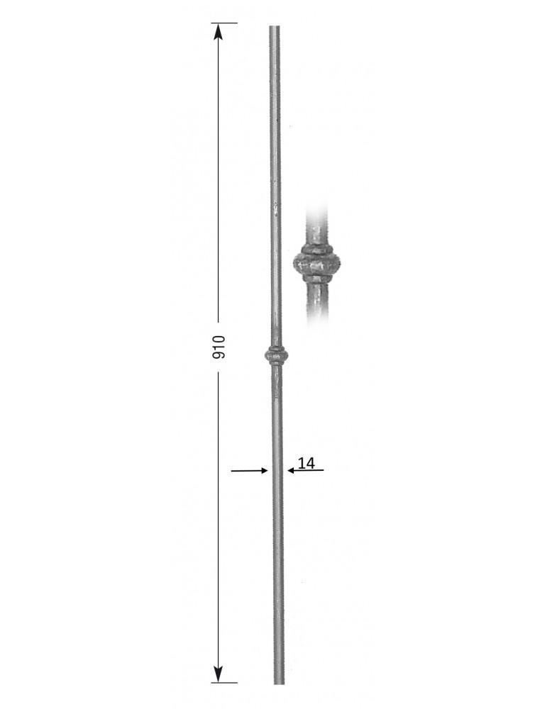 pièce élément ferronnier serrurier Barreau Longueur 910 Diamètre 14 ACIER FER FORGE LISSE Ref: 20-14-910