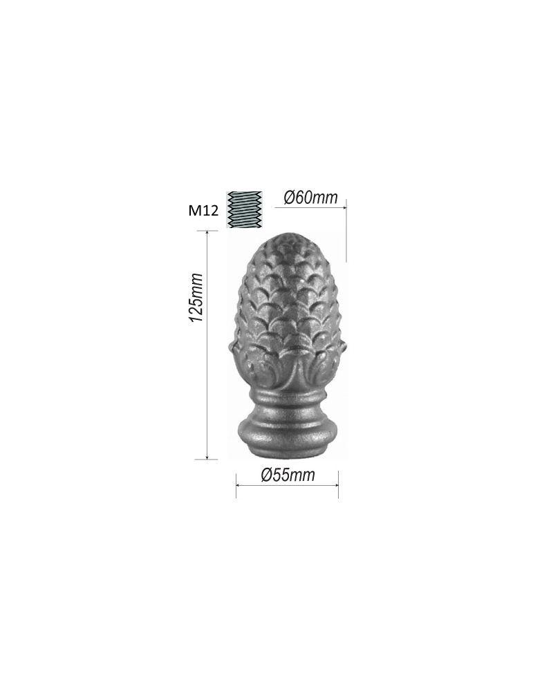 pièce élément ferronnier serrurier Tête de départ forme pomme de pin pour escalier 125 x 55 Diamètre 60 Taraudé M12 ACIER Ref...