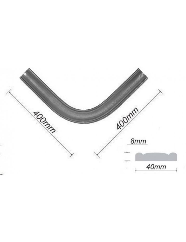 pièce élément ferronnier serrurier Accessoire Main courante 400 x 400 Section 40x8 ACIER Ref: BE12055