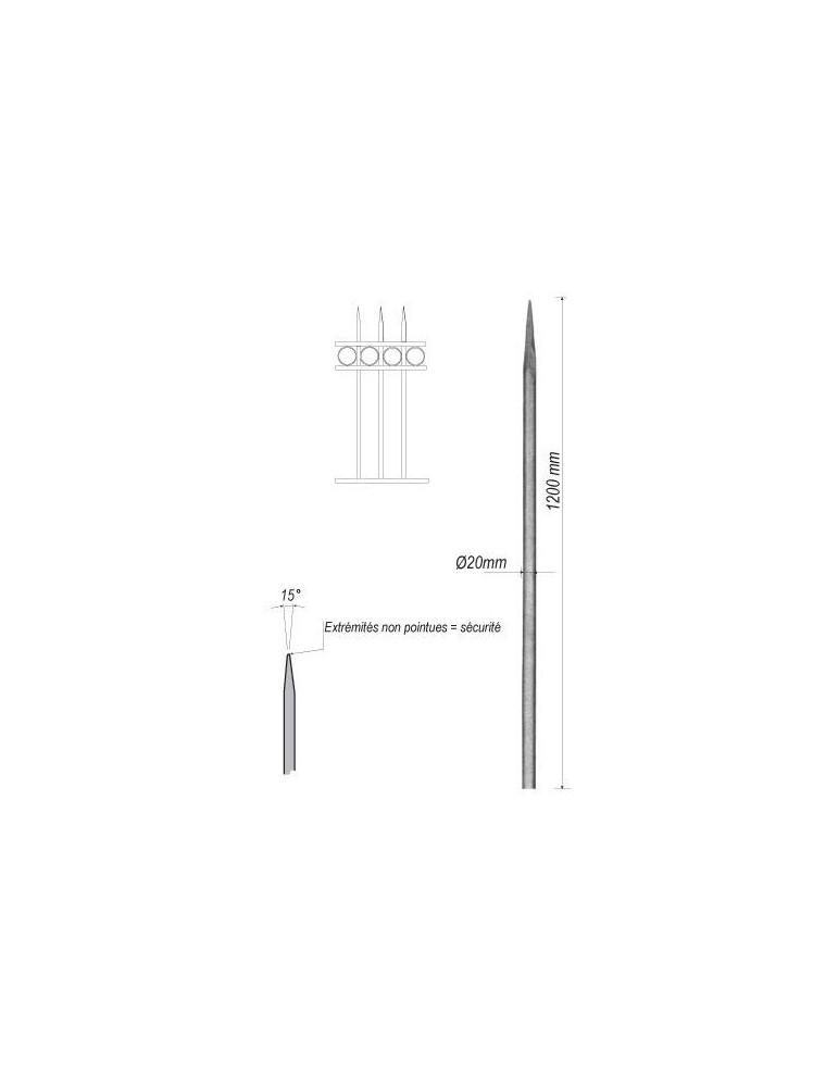 pièce élément ferronnier serrurier Barreau appointé ROND Longueur 1200 Diamètre 20 ACIER FER FORGE Ref: 1RL20-1200