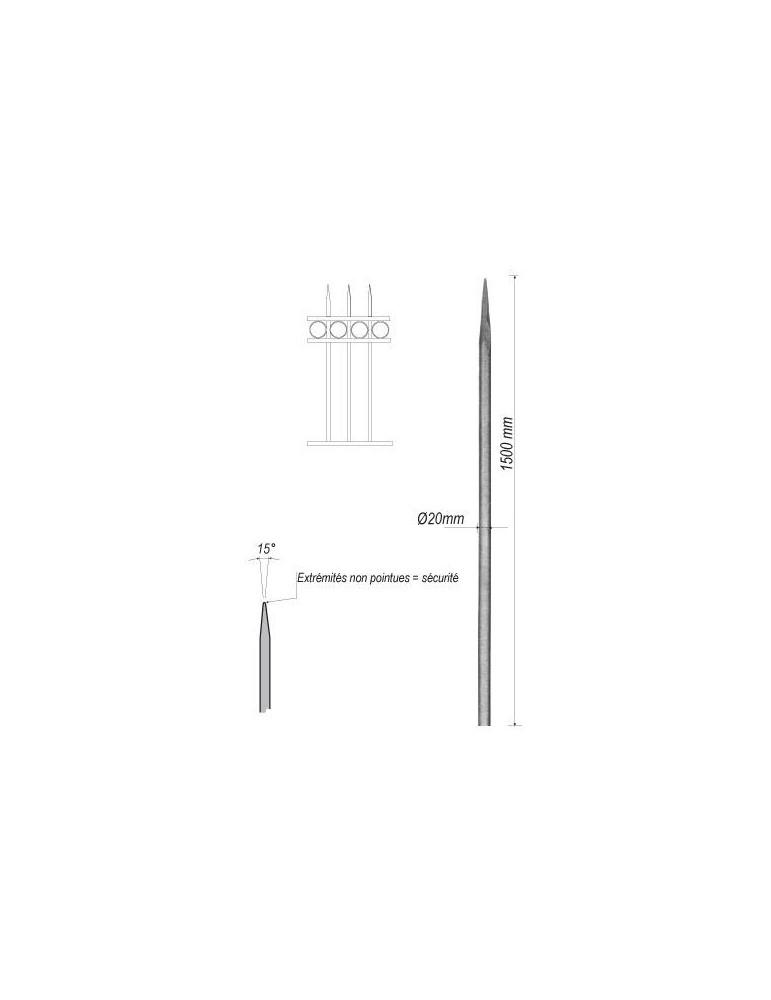 pièce élément ferronnier serrurier Barreau appointé ROND Longueur 1500 Diamètre 20 ACIER FER FORGE Ref: 1RL20-1500