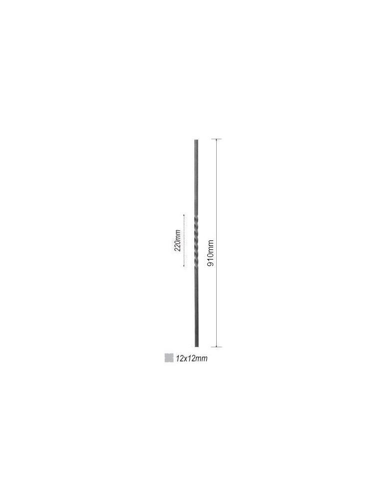balustre torsade longueur 910 section 12x12 acier fer. Black Bedroom Furniture Sets. Home Design Ideas