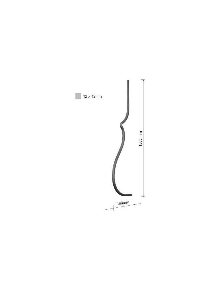 pièce élément ferronnier serrurier Balustre GALBE 1300x190 Section 12x12 ACIER FER FORGE Ref: 8L-12-1300