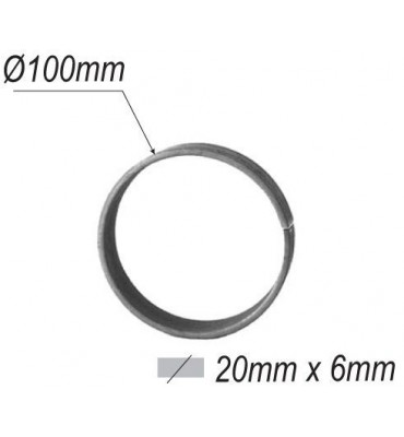 pièce élément ferronnier serrurier Cercle LISSE ROND Section 20x6 Diamètre 100 ACIER Ref: A100L20X6