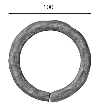 pièce élément ferronnier serrurier Cercle MARTELE ROND Section 14 Diamètre 100 ACIER Ref: A100MR14