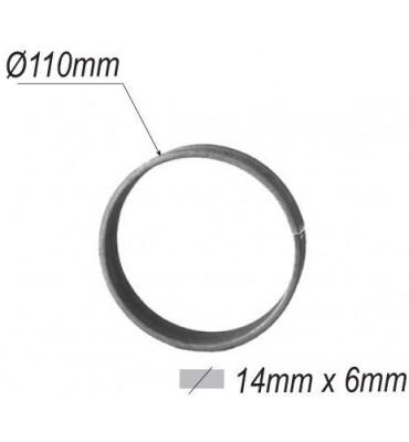 pièce élément ferronnier serrurier Cercle LISSE ROND Section 14x6 Diamètre 110 ACIER Ref: A110L14X6