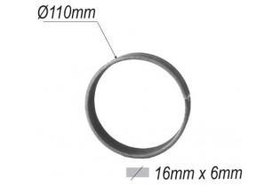 pièce élément ferronnier serrurier Cercle LISSE ROND Section 16x6 Diamètre 110 ACIER Ref: A110L16X6
