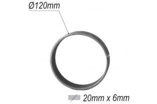 pièce élément ferronnier serrurier Cercle LISSE ROND Section 20x6 Diamètre 120 ACIER Ref: A120L20X6
