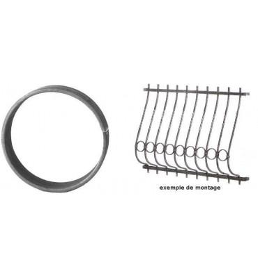 pièce élément ferronnier serrurier Cercle LISSE ROND Section 20x6 Diamètre 125 ACIER Ref: A125L20X6