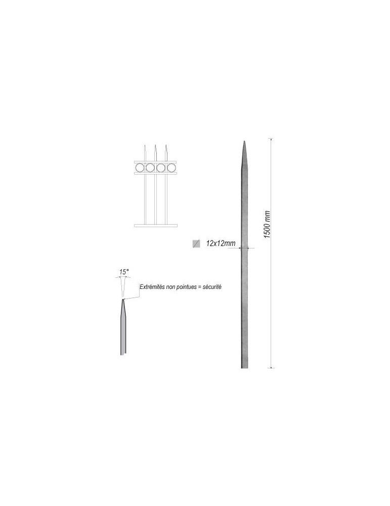 pièce élément ferronnier serrurier Barreau appointé CARRE Longueur 1500 Section 12x12 ACIER FER FORGE Ref: 1CL12-1500