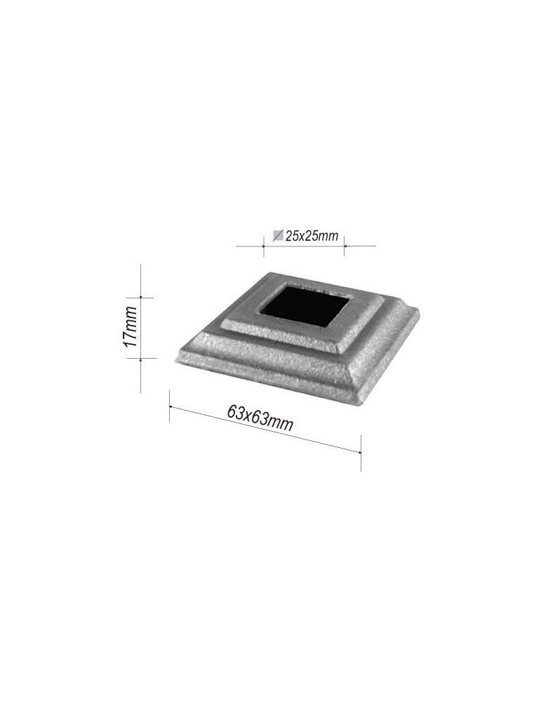 pièce élément ferronnier serrurier Cache de fixation pour barreau CARRE Hauteur 17 Section 63x63 Passage 25x25 ACIER FER FORG...