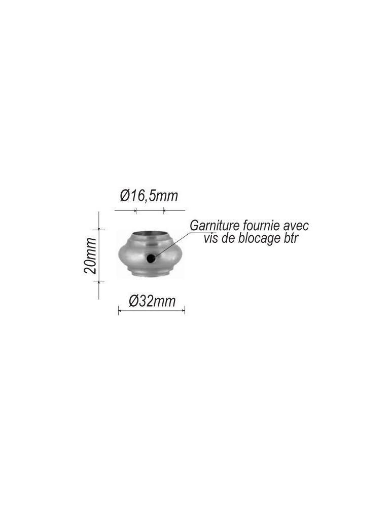 pièce élément ferronnier serrurier Garniture RONDE Diamètre 32 Hauteur 20 Passage 16 ACIER Ref: F62.417