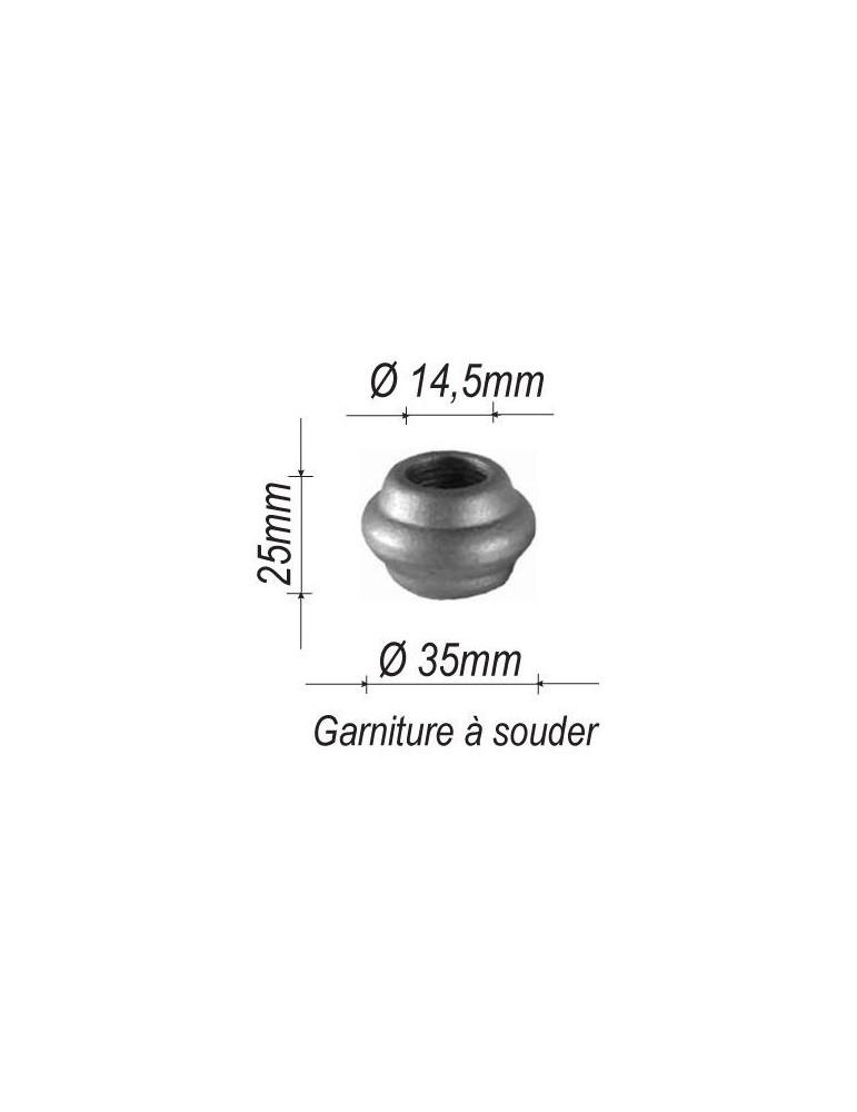 pièce élément ferronnier serrurier Garniture RONDE Diamètre 25 Hauteur 35 Passage 14 ACIER Ref: G11-14
