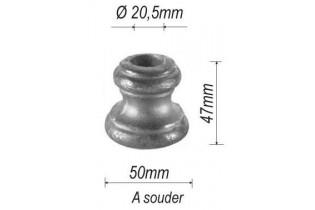 pièce élément ferronnier serrurier Garniture RONDE Diamètre 47 Hauteur 50 Passage 20 ACIER Ref: G4-20D