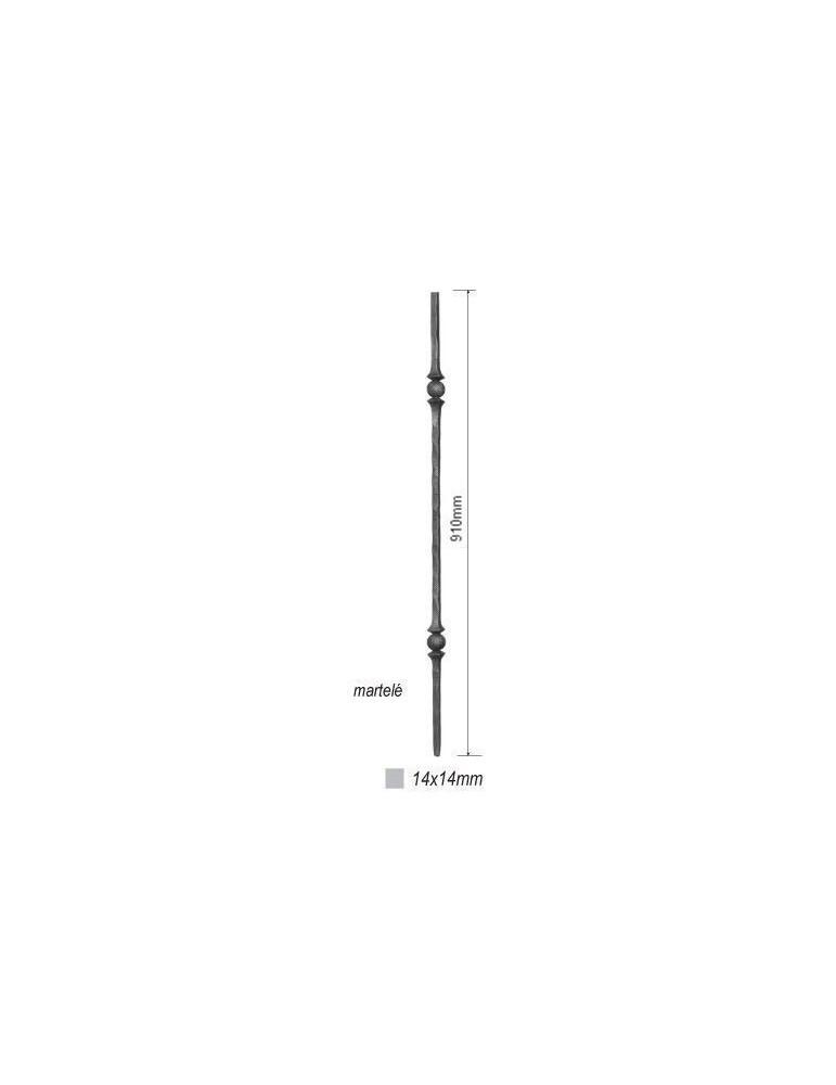 pièce élément ferronnier serrurier Balustre Longueur DROITE 910 Section 14x14 ACIER FER FORGE Ref: 21D2-14-910