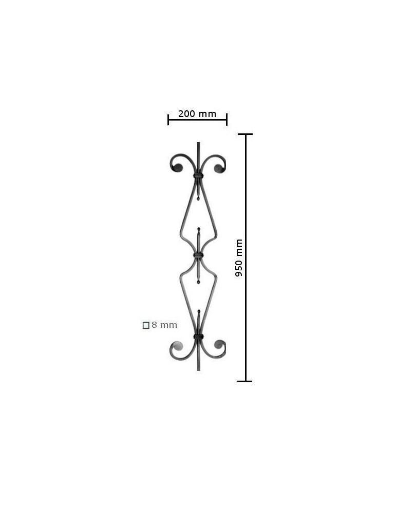 balustre droite 950x200 section 8x8 acier fer forge ref. Black Bedroom Furniture Sets. Home Design Ideas