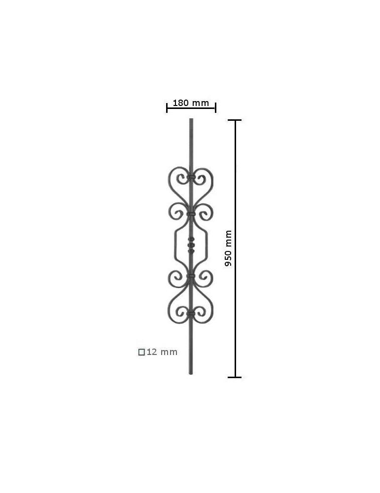 balustre droite 950x180 section 12x12 acier fer forge ref. Black Bedroom Furniture Sets. Home Design Ideas