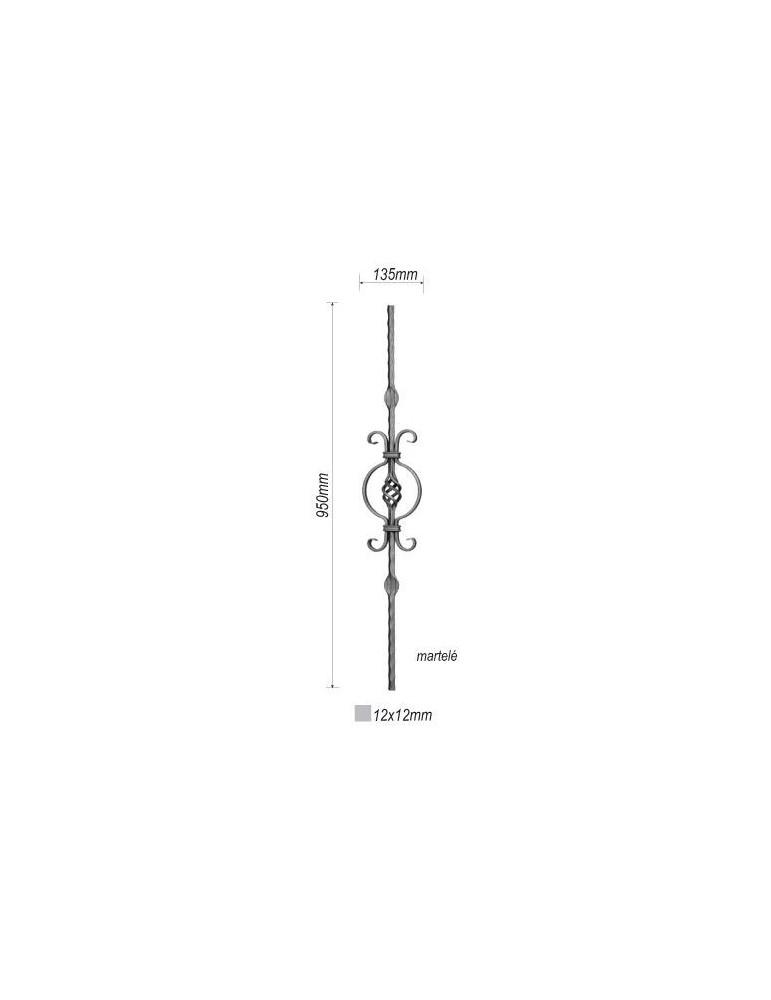 balustre droite 950x135 section 12x12 acier fer forge ref. Black Bedroom Furniture Sets. Home Design Ideas